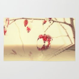 Winter time with red rosehips Rug