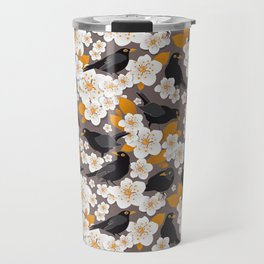 Waiting for the cherries II // Blackbirds brown background Travel Mug