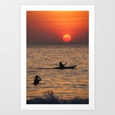 Kayaking at Sunset Palolem Art Print