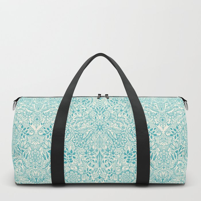 Detailed Floral Pattern in Teal and Cream Duffle Bag