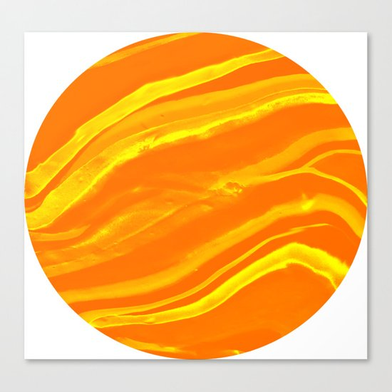 Marbling Lava Orange and Yellow World Marble Canvas Print
