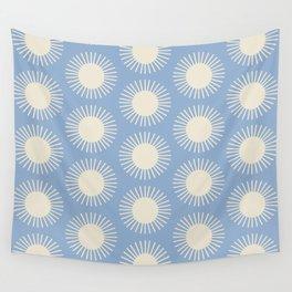 Sun Pattern - Blue Wall Tapestry