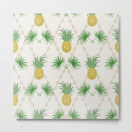 Exotic tropical  pattern with palm branches and pineapples . Metal Print