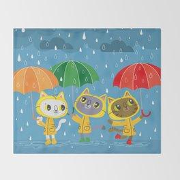 Rainy Day Kitty Cats Throw Blanket