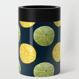 Watercolor Lemon Lime Pattern Can Cooler