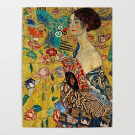 Gustav Klimt Lady With Fan Poster