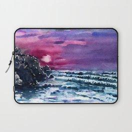Bali Bingin beach, purple sunset, watercolor landscape picture, summer art Laptop Sleeve