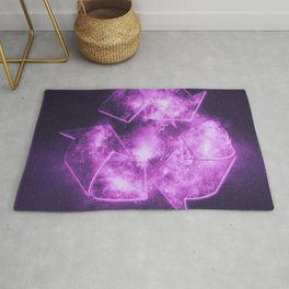 Recycle Sign. Abstract night sky background Rug
