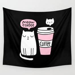Meow coffee cat Wall Tapestry