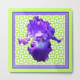 Decorative  Purple Iris Lime Green Optical Pattern Art Metal Print