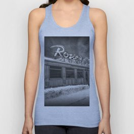 Rosie's Diner Photograph in Infrared Black & White by Rockford, Michigan Unisex Tank Top