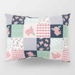 Cheater Quilt basic trendy floral pattern navy pink modern nursery florals cheater quilts Pillow Sham
