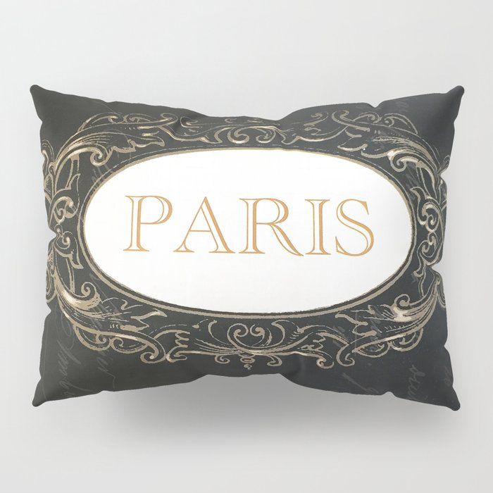 Paris Black White Gold Typography Home Decor Pillow Sham By