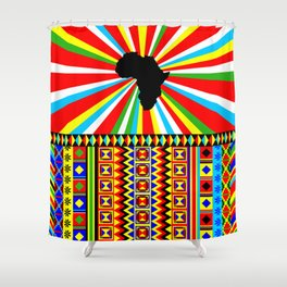 Kente Cloth Pattern with Africa Continent Sun Shower Curtain