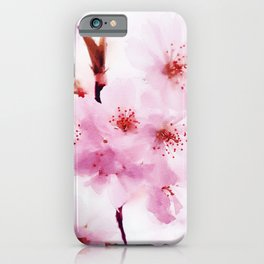 Cherry pink blossoms watercolor painting #2 iPhone Case