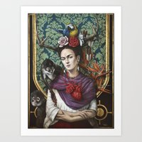 frida kahlo Art Prints featuring Frida kahlo by Sophie Wilkins