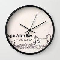 edgar allen poe Wall Clocks featuring Edgar Allen Poe by Andreas Derebucha