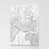 boston map Stationery Cards featuring Vintage Map of Boston (1878) by BravuraMedia