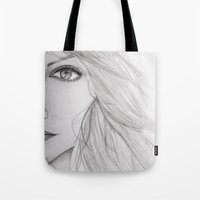 emma stone Tote Bags featuring Emma Stone Drawing by Olivia Scotton