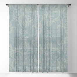 Antique rustic teal damask fabric Sheer Curtain