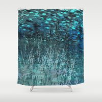 marine Shower Curtains featuring Marine Scape Deekflo Print AwesomePaletteSoc6 by Awesome Palette