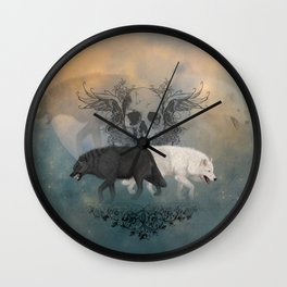Awesome black and white wolf with skull Wall Clock
