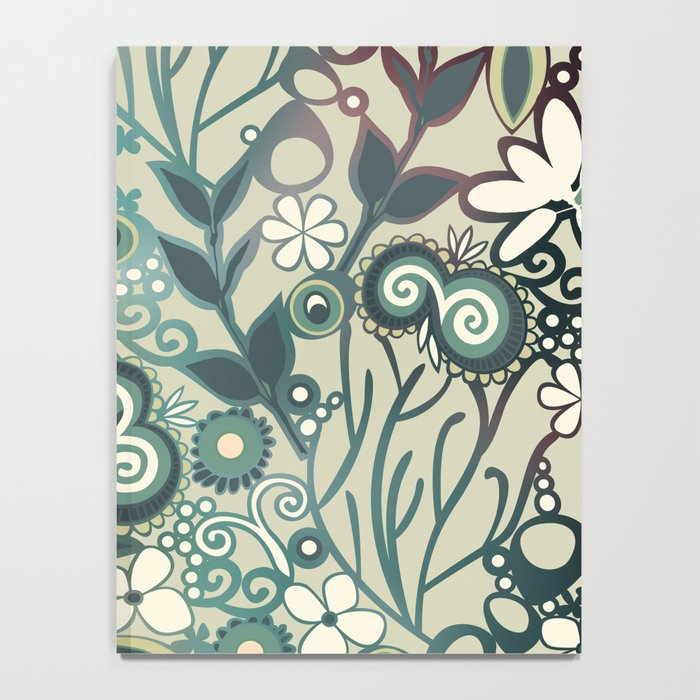 Detailed square of green and ocre floral tangle Notebook