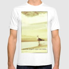 and the seagull's name was Nelson White MEDIUM Mens Fitted Tee