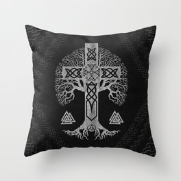 Tree of life  -Yggdrasil  and Celtic Cross Throw Pillow