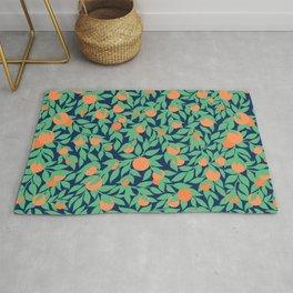 Oranges and Leaves Pattern - Navy Blue Rug