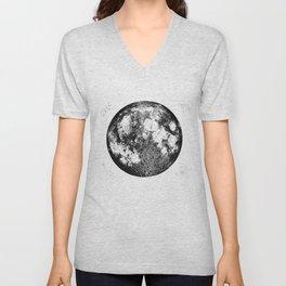 Negative Full Moon Print, by Christy Nyboer Unisex V-Neck