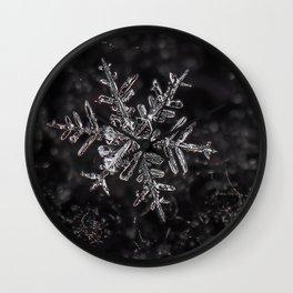 Snowfake on some fleece Wall Clock