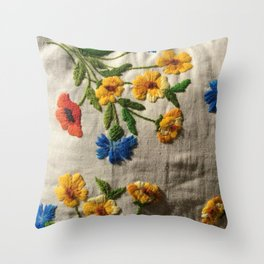 Flowers stitched Throw Pillow