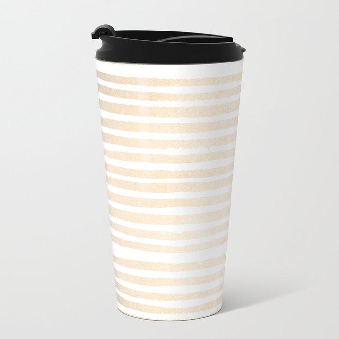 White Gold Sands Shibori Stripes Metal Travel Mug