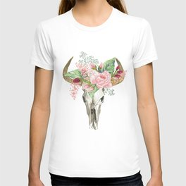 Bohemian bull skull with flowers T-shirt