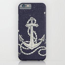 Navy Blue Nautical White Anchor for Sailor Texture iPhone Case