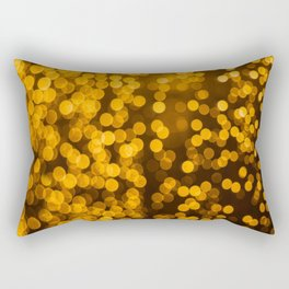 Gold Glitter Sparkle Bokeh Blurred Lights Shimmer Shiny Dots Spots Circles Out Of Focus Rectangular Pillow