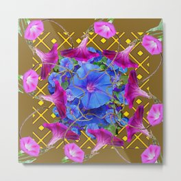 Nut Brown  Pink-Purple-Blue Morning Glory Abstract Metal Print