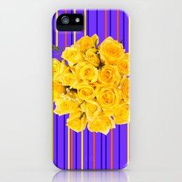 GOLDEN YELLOW ROSES PURPLE STRIPE PATTERN iPhone Case