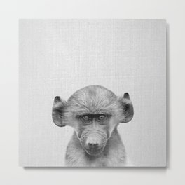 Baby Baboon - Black & White Metal Print