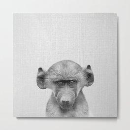 Baby Baboon - Black & White Metal Print