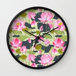 pond of pink lotuses Wall Clock