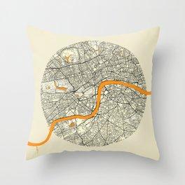London Map Moon Throw Pillow