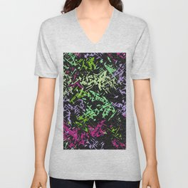 Misc shapes on a black background Unisex V-Neck