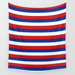 blue white red stripes Wall Tapestry