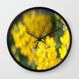 Yellow Lupin and a Ladybug Wall Clock