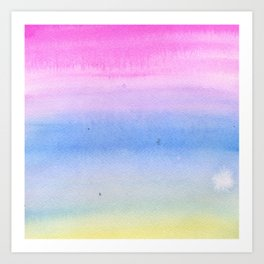 Hand painted pink blue yellow ombre watercolor paint Art Print