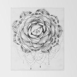 Camellia Dotwork Mandala Throw Blanket