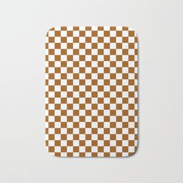 Small Checkered - White and Brown Bath Mat