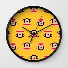 Julius Monkey Pattern by Paul Frank - Yellow Wall Clock